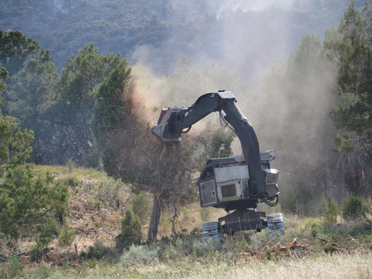 A device called a masticator is used to tear out trees and other vegetation in an effort to establish more defensible fires lines around the Saddle Fire south of Pine Valley.