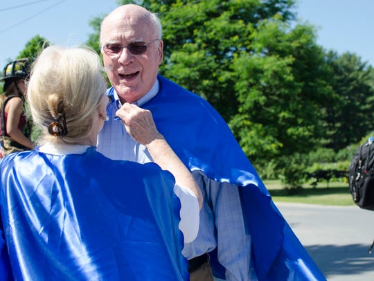 Sen. Patrick Leahy gets an assist from his wife, Marcelle,