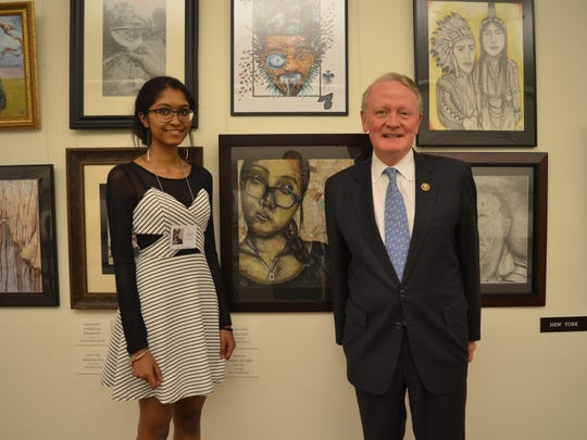 """Congressman Leonard Lance (R-Dist. 7) welcomed Sanjana Rao to the United States Capitol recently for the annual Congressional Art Competition showcase.  Rao, 17, was selected as the winner of the Seventh Congressional District contest for her piece, Thoughts of Coffee on You.  She earned the chance to visit Washington, D.C. and see her work on display in the Capitol alongside the winning selections from across the country.After the special ceremony, Rao said, """"Art, for me, is a medium of self-expression.  I've always loved problem solving, and art is the best puzzle to solve.  Each art piece is about finding the right composition, the right values, right symmetries, right meaning. Art is something I'm proud of and I'm proud to have my work on display in the United States Capitol."""" Rao is a student at Bridgewater Raritan High School and is involved in the Arts Honor Society and is president of the photography club. The Congressional Art Contest began in 1982 to provide an opportunity for members of Congress to encourage and recognize the artistic talents of their young constituents."""