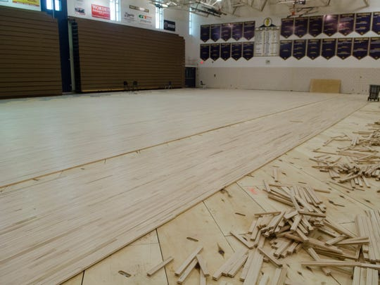 "The partially finished Port Huron Northern floor Friday, July 6. The floor was replaced through the ""Fund Our Floor"" campaign."
