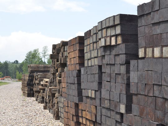 Railway ties, waiting to be laid to ferry salt cars to the transfer site at the Vermont Railway salt shed, on Thursday, July 14.
