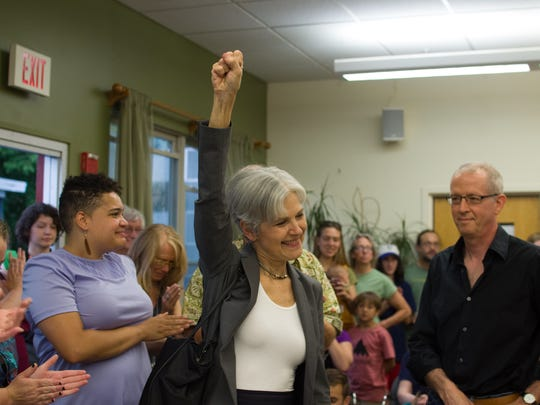 Dr. Jill Stein, Green Party candidate for president, shows confidence Friday at the McClure Multigenerational Center in Burlington's Old North End.