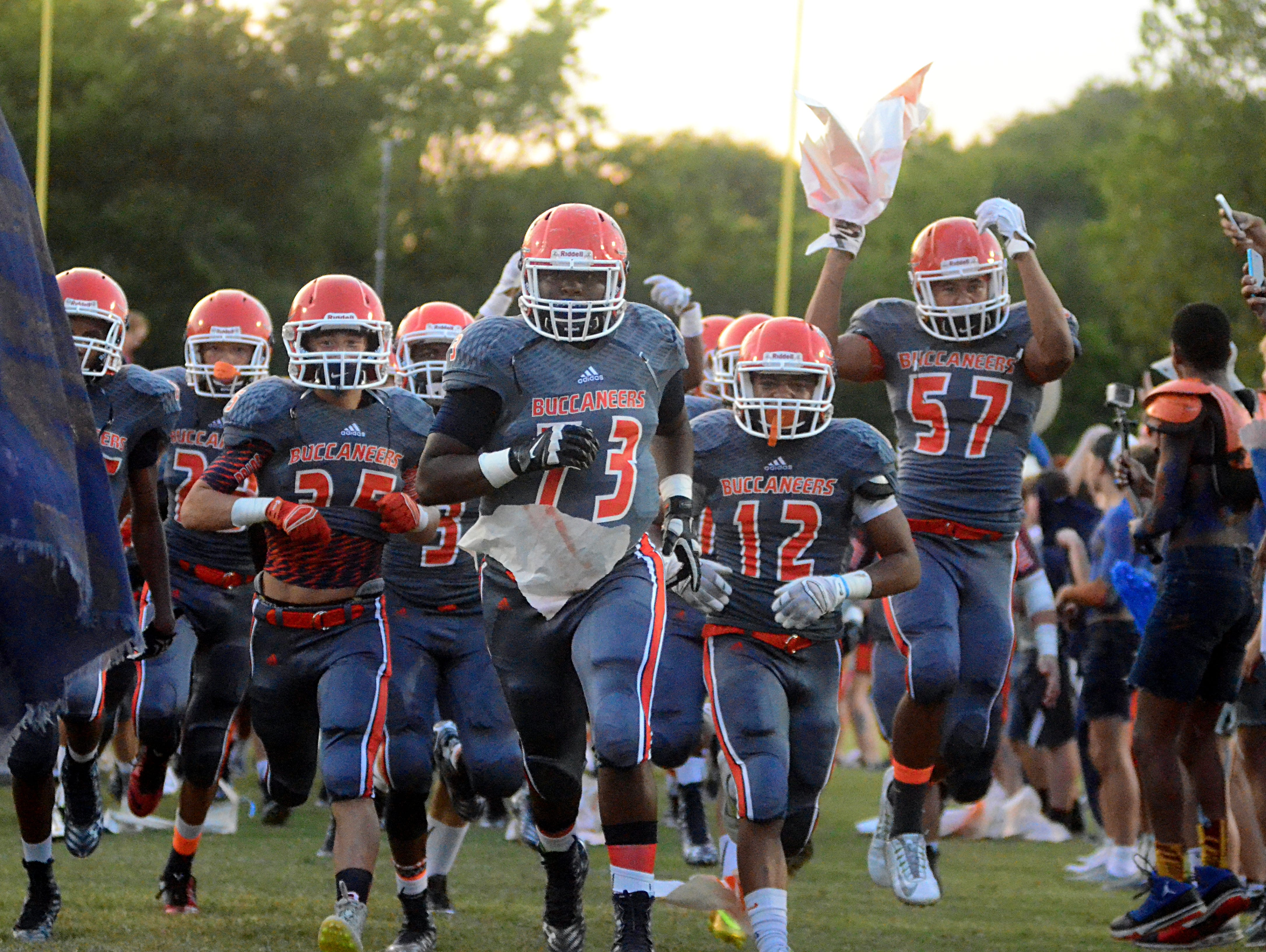Beech players run onto the field prior to last season's game against Rossview. Beech travels to Rossview in the second week of the season.