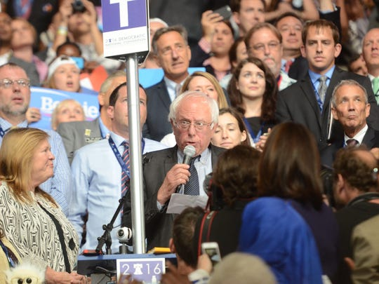 Sen. Bernie Sanders, I-Vt., moves that the Democratic National Convention nominate Hillary Clinton for president by unanimous acclamation Tuesday night, July 26, 2016, following the formal roll call vote.