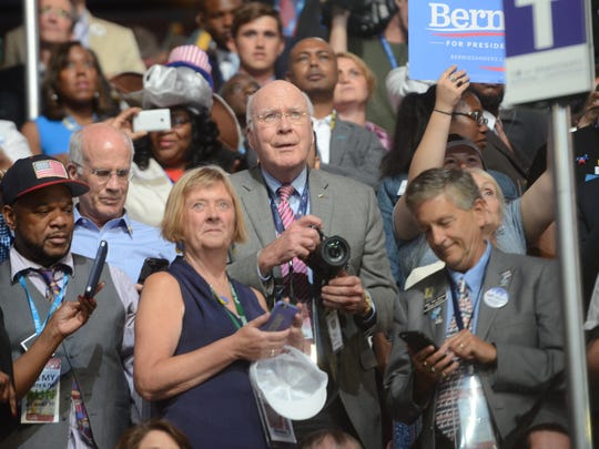 Sen. Patrick Leahy, D-Vt., center, stands with Rep. Peter Welch, D-Vt., and other Vermont politicians at the Democratic National Convention in Philadelphia on July 26, 2016, just before Sen. Bernie Sanders, I-Vt., moved to nominate Hillary Clinton for president.