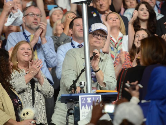 Vermont Democratic Party Chairwoman Dottie Deans takes the microphone to announce Vermont's delegate votes Tuesday evening at the Democratic National Convention.