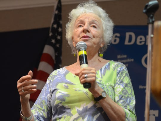 Former Vermont Gov. Madeleine Kunin addresses Democratic delegates from Vermont, New Hampshire and Maine at a hotel outside of Philadelphia on Wednesday, July 27, 2016, the day after Sen. Bernie Sanders ended his presidential bid and Hillary Clinton became the Democratic nominee.