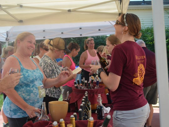 Shawna Leeds of Berlin samples wine at Bellview Winery
