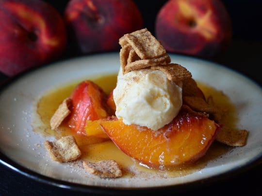 This Peach Foster with Vanilla Ice Cream and Cinnamon Toast Crunch will have taste buds singing. Peaches are cooked in a caramel rum sauce, topped with ice cream, cinnamon sugar and crunchy Cinnamon Toast Crunch cereal. It's fabulous and easy.
