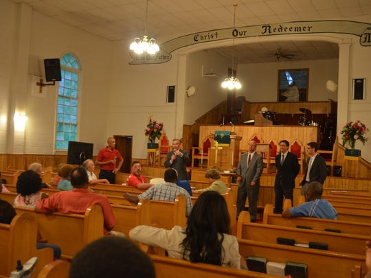 The meeting was held at AME Church on Edmondson Ferry Road.