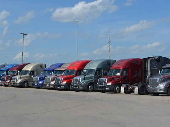 Big rigs are lined up in the parking lot at Prime.