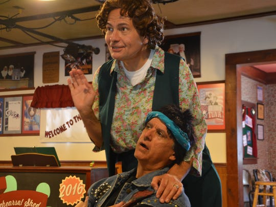"""Scott  Burkell, standing, and Joe Aiello star as the whole town of Tuna, Texas, in Barn Theatre's """"Red, White and Tuna."""""""