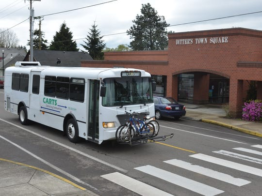 Salem Keizer Transit's CARTS canyon service delivers a bicyclist to Sublimity.