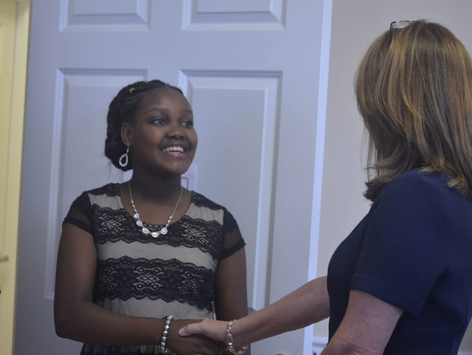 Tennessee first lady Crissy Haslam congratulates 12-year