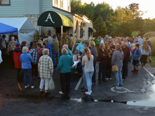 The line to get into the Sten Kordon benefit extended well out into the Alexander's parking lot Wednesday.