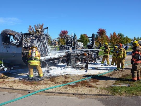 Three Northern Door fire departments came out Sunday to help extinguish a camper fire at Beantown Campground in Baileys Harbor.