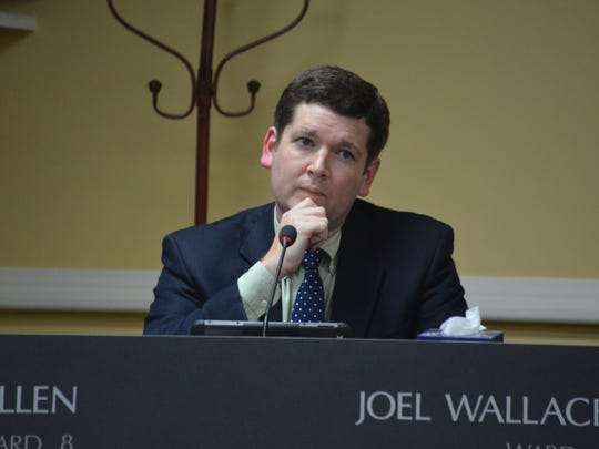 Joel Wallace at the city council regular session on