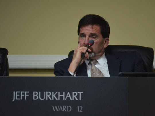 Jeff Burkhart at the city council regular session on