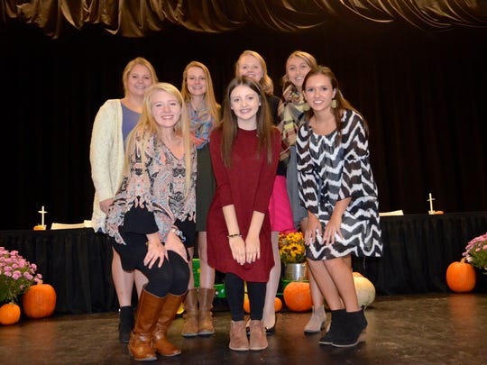 UCHS National Senior Beta Club Officers.   Back row left to right: Hannah Buckman, Ashley Conway, Emily Davis, Jasmine Owen Front row left to right: Caroline O'Guin, Macy Crump, and Emma Sprague