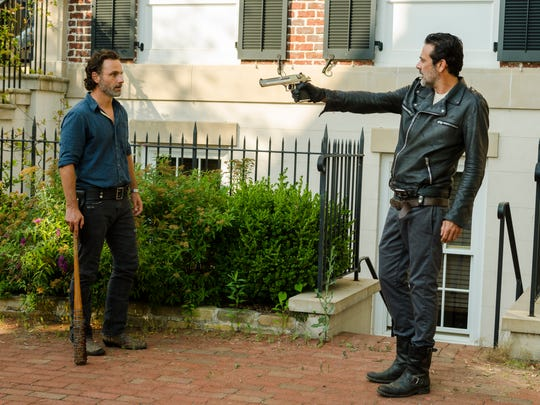 Andrew Lincoln, left, is Rick Grimes and Jeffrey Dean
