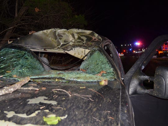 A deer crashed through the windshield of this F-250 pickup, killing the driver Monday evening 7 miles north of Springfield.