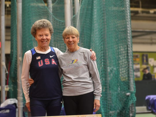 Flo Meiler takes a break from hurdles to stand with her former training partner Barbara Jordan, on Friday, Nov. 11, 2016.