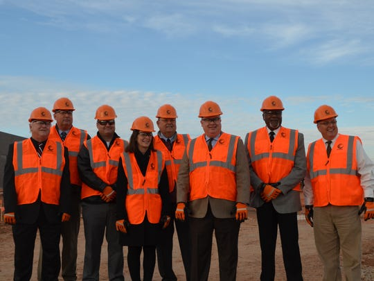 Superintendent Michael Kuhrt, second from left, and board members, from left, Mike Rucker, Adam Groves, Elizabeth Yeager, Bill Franklin, Dale Harvey, Tom Bursey and Bob Payton get ready to tour the Wichita Falls ISD's Career Education Center site. The facility is set to be completed in the summer.