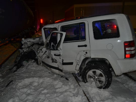 The Jeep was struck by a train.