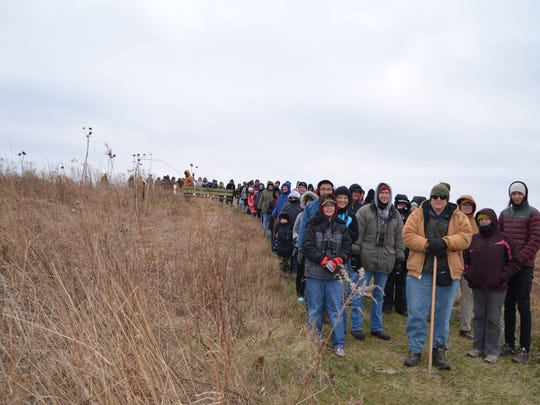 Participants walk the trails at Prophetstown State