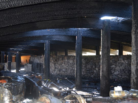Fire damage can be seen inside the former Chart House in Rancho Mirage. The structure is scheduled to be demolished on Tuesday, March 19, 2013.