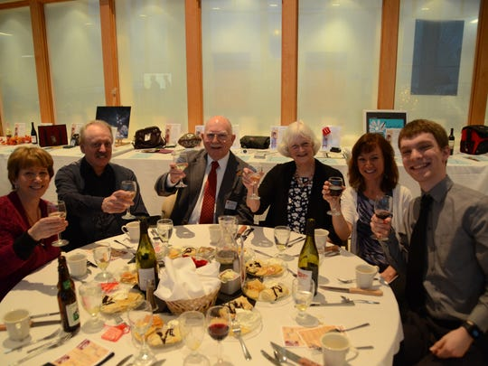Guests at Corks & Forks enjoy a four-course dinner served with select wines. Some of last year's guests are pictured, from left: Sigrun Columbia-Navis, Dale Navis, Jack Heil, Marjorie Heil, Robyn French and Louis Freund.