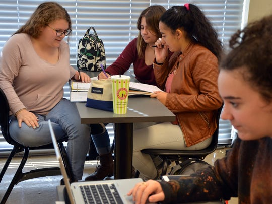 High school students at the Early College Academy on the SLCC campus, working on a group project, March 3, 2017.