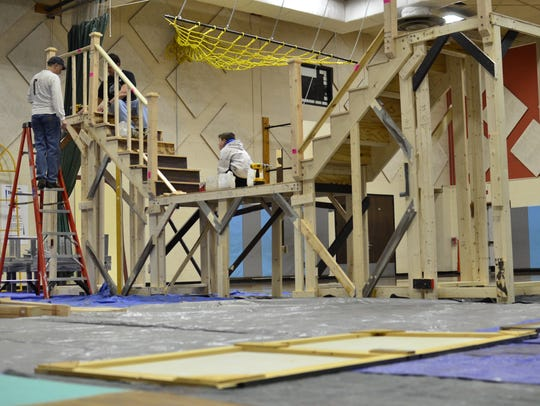 South Burlington parents and students work on a drama