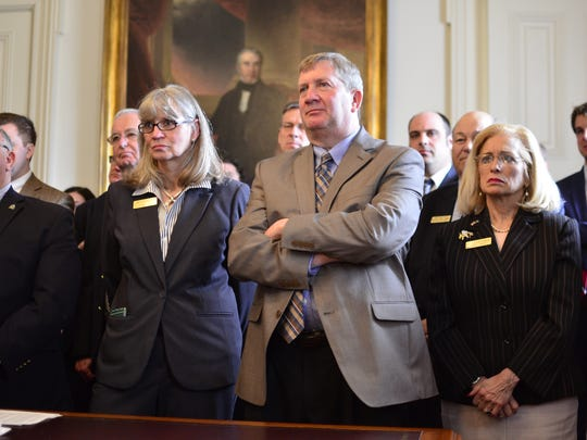 Republican lawmakers listened and applauded as Gov. Phil Scott proposed a statewide teacher health insurance plan at the Statehouse in Montpelier on April 25, 2017.