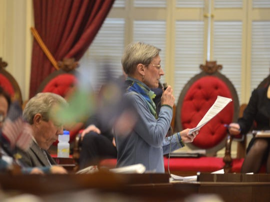 Rep. Maida Townsend, D-South Burlington, presents an ethics bill Monday, May 1, at the Vermont House of Representatives.