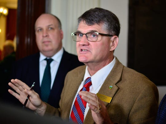 House Minority Leader Don Turner, R-Milton, right, speaks to reporters on Wednesday, May 3, 2017.