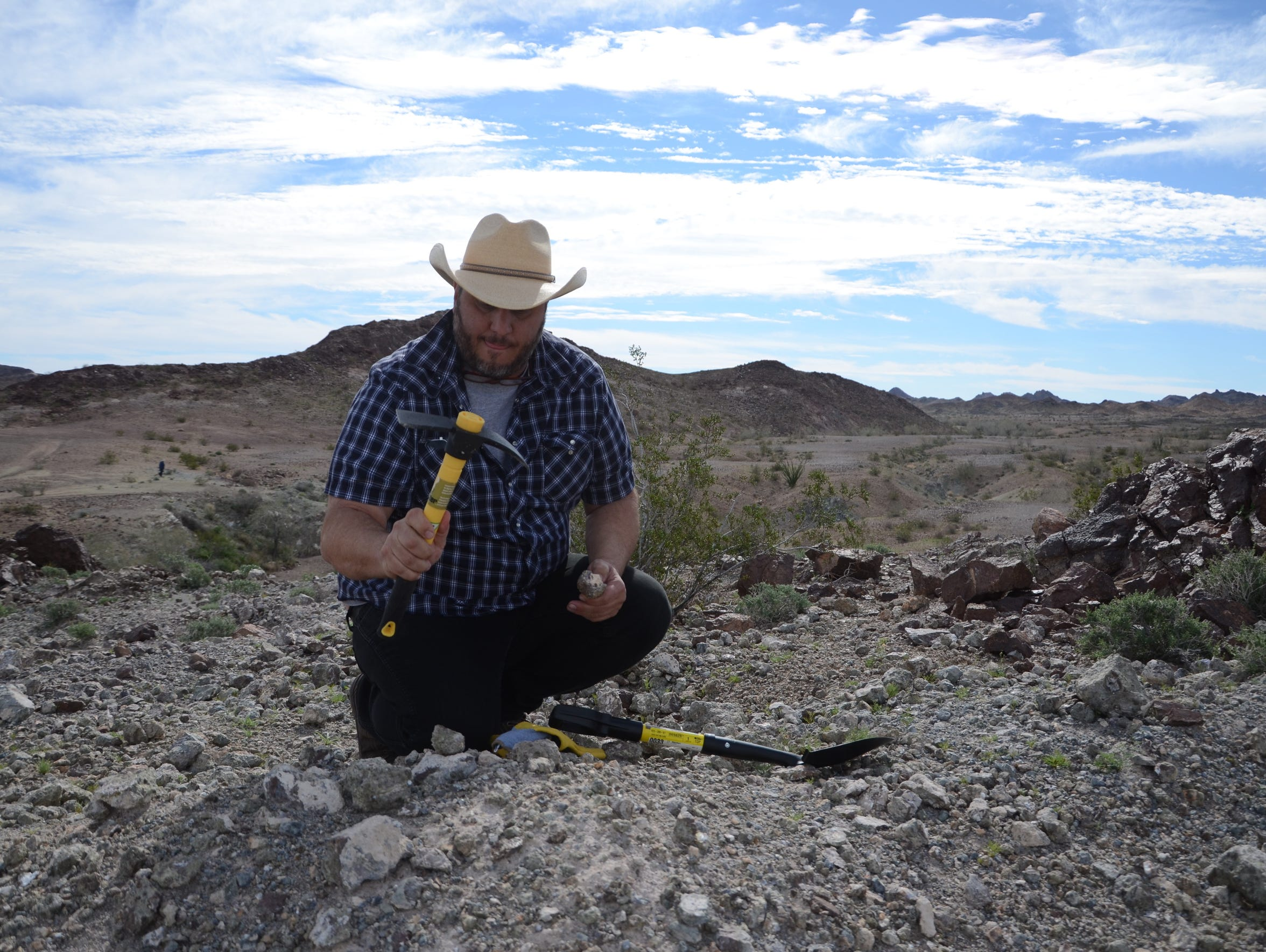 Rick Marino goes rockhounding in the Wiley's Well District.