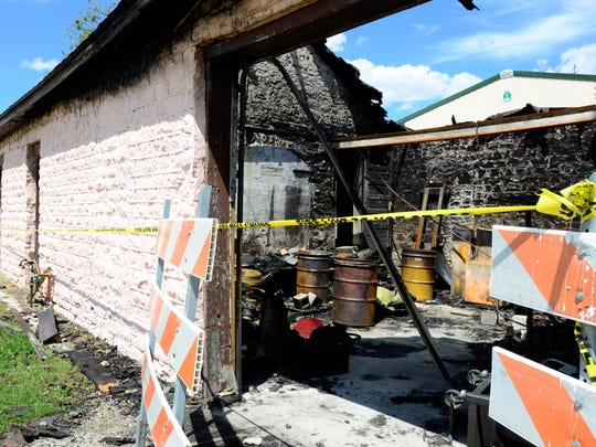 The 125-year-old stone depot building in Genoa where electric trolleys used to transport passengers throughout Northwest Ohio was severely damaged in what officials say was an arson blaze.