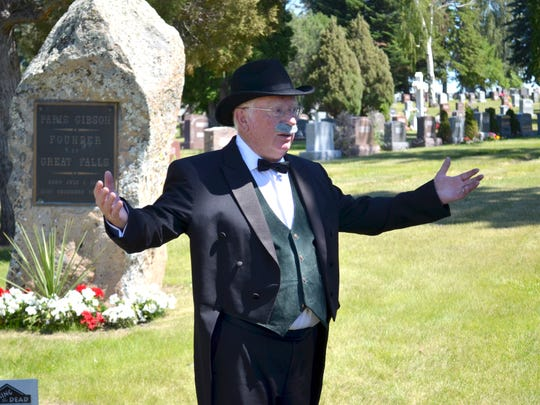 Channing Hartelius takes on the persona of Great Falls founder Paris Gibson at the seventh annual Waking the Dead Tours in Highland Cemetery. The event is a coordinated effort between the city parks and recreation department and the Paris Gibson Month Celebration Committee.