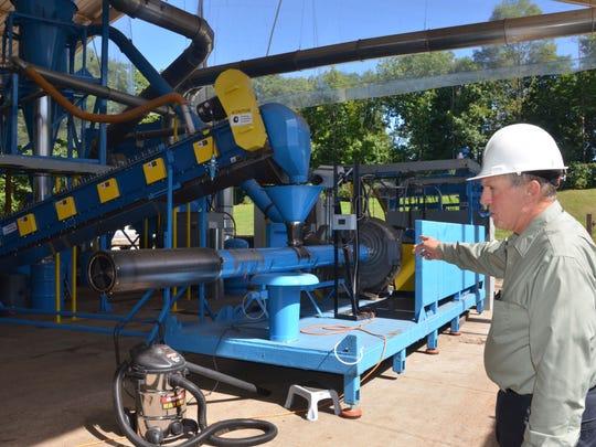 Battle Creek Water Superintendent Rich Beardslee shows