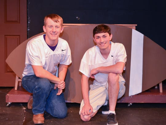 "Football players John Bohatch and Reece Resendez (as Jake Carl and Brian Miller) in ""Cost of Winning,"" a play by Red Bluff resident Denise Derk."