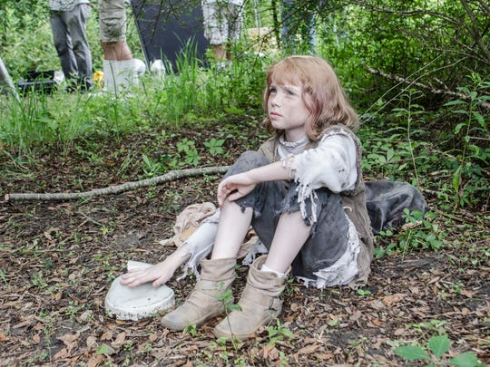 """Gabrielle Faulkner, 10, portrays Orphea in """"Sur'vi,"""" a short film by Stephen Wise."""