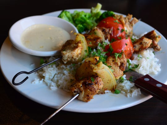The Chicken Kabobs ($13.99) at Riad are a wonderful