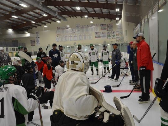 Brick Stars Challenger Hockey players skater with Shore