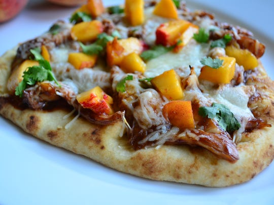 This Barbecue Chicken Peach Flatbread is my favorite