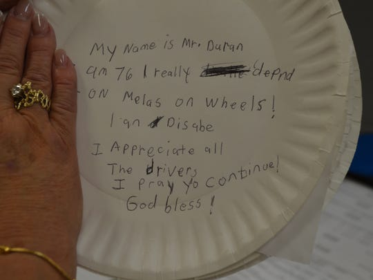 Clients wrote about the importance of Meals on Wheels in their  lives.