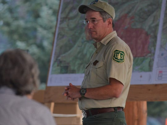 Helena-Lewis and Clark National Forest Supervisor Bill Avey takes questions during a community fire meeting in Lincoln on Sept. 5.