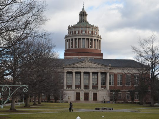 The Rush Rhees Library is at the center of the University of Rochester's River Campus.