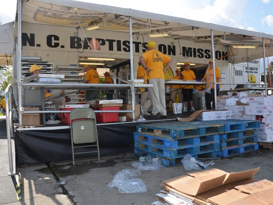 Red Cross Kitchen 12 on Monday, Sept. 18, 2017. The mobile kitchen, set up outside the First Baptist Church of Nederland, Texas, and staffed by volunteers from the Southern Baptist Convention, is preparing meals for Hurricane Harvey victims.