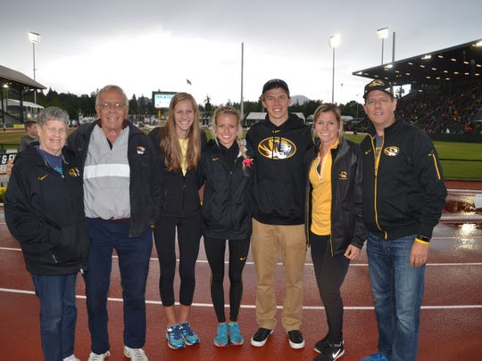 Running has been part of the Schweizer family for three generations. From left: Linda, Frank, Kelsey, Karissa, Ryan, Kathy and Mike Schweizer.